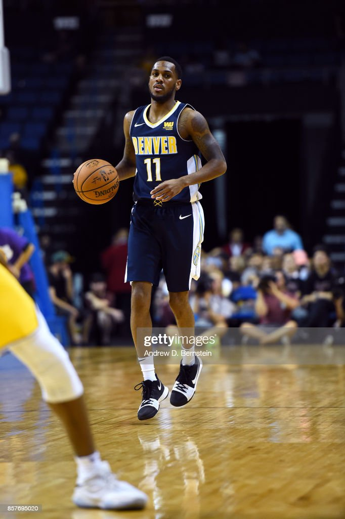 Monte Morris #11 of the Denver Nuggets handles the ball against the Los Angeles Lakers on October 4, 2017 at Citizens Business Bank Arena in Los Angeles, California.