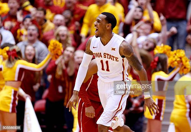Monte Morris of the Iowa State Cyclones celebrates after scoring a three point basket in the second half of play against the Oklahoma Sooners at...