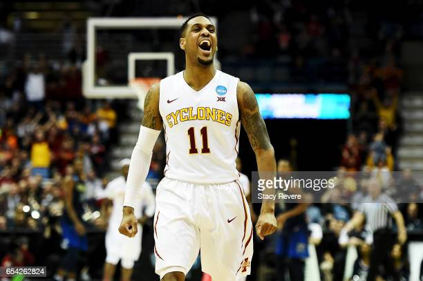 Monte Morris of the Iowa State Cyclones celebrates in the first half against the Nevada Wolf Pack during the first round of the 2017 NCAA Men's...