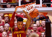 Monte Morris of the Iowa State Cyclones dunks the ball in the second half of play against the Iowa Hawkeyes at Hilton Coliseum on December 10 2015 in...