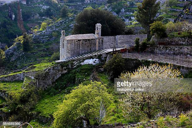 Monte Sant'angelo dell'Incoronata little chapel in front of the old town Gargano Apulia Italy