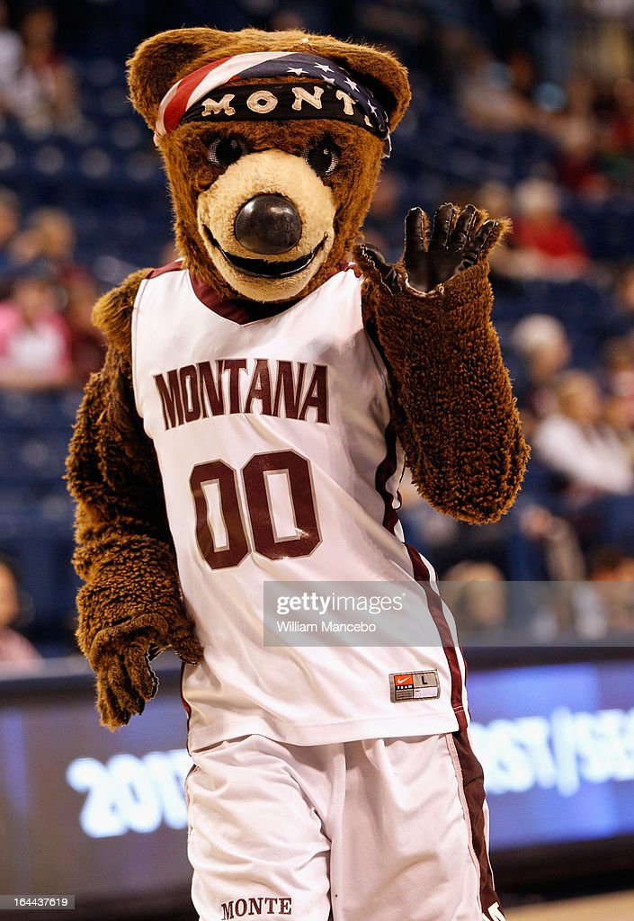 Monte the mascot for the Montana Grizzlies performs during the game against the Georgia Lady Bulldogs at McCarthey Athletic Center on March 23, 2013 in Spokane, Washington. The Lady Bulldogs defeated the Grizzlies 70-50.