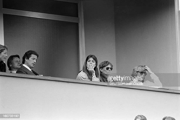 Montecarlo Tennis Tournament 1980 En mai 1980 à MonteCarlo pendant le tournoi de tennis la famille princière de Monaco à la tribune Philippe JUNOT et...