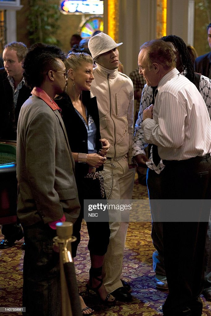LAS VEGAS -- 'Montecito Lancers' Episode 7 -- Pictured: (l-r) apl.de.ap, Fergie, Taboo of The Black Eyed Peas, James Caan as Ed Deline -- Photo by: Chris HastonNBC/NBCU Photo Bank