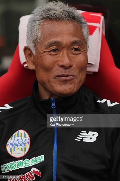 Montedio Yamagata head coach Nobuhiro Ishizaki looks on prior to the JLeague match between Shimizu SPulse and Montedio Yamagata at IAI Stadium...