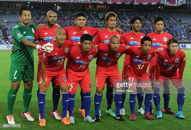 Montedio Yamagata players line up for the team photos prior to the JLeague match between Yokohama FMarinos and Montedio Yamagata at Nissan Stadium on...