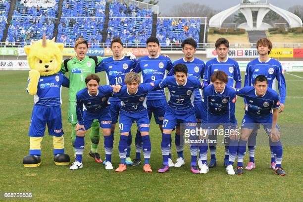 Montedio Yamagata players line up for the team photos prior to the JLeague J2 match between Montedio Yamagata and Tokyo Verdy at ND Soft Stadium...
