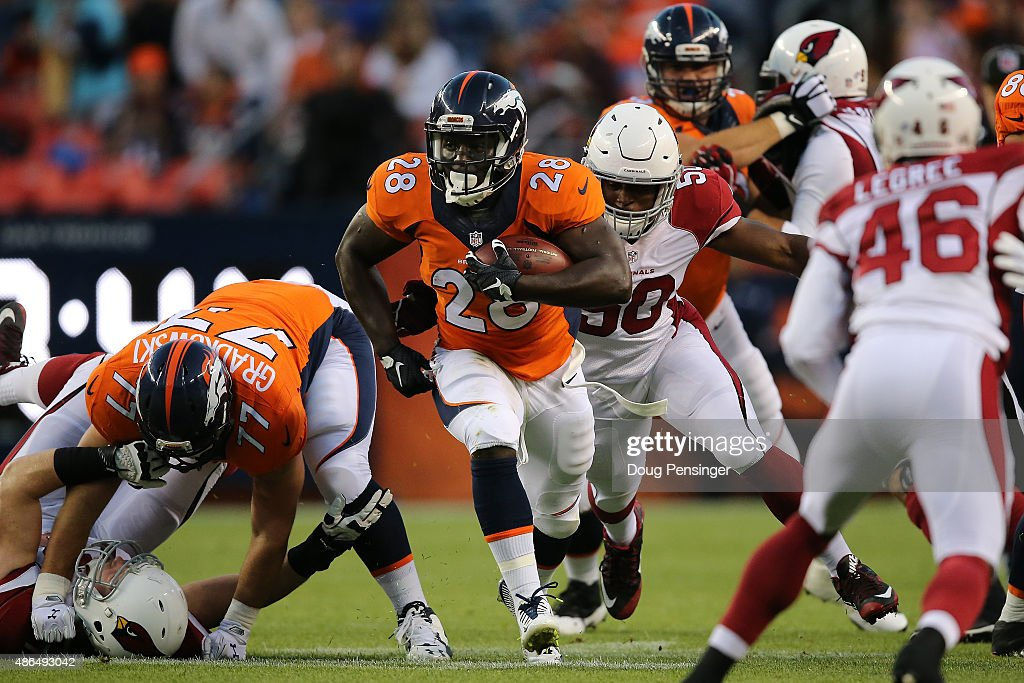 <a gi-track='captionPersonalityLinkClicked' href=/galleries/search?phrase=Montee+Ball&family=editorial&specificpeople=6475135 ng-click='$event.stopPropagation()'>Montee Ball</a> #28 of the Denver Broncos carries the ball against the Arizona Cardinals during preseason action at Sports Authority Field at Mile High on September 3, 2015 in Denver, Colorado. The Cardinals defeated the Broncos 22-20.