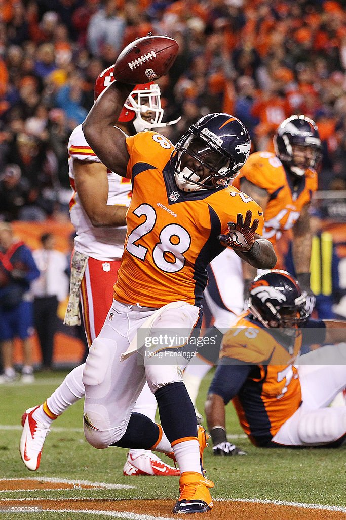 <a gi-track='captionPersonalityLinkClicked' href=/galleries/search?phrase=Montee+Ball&family=editorial&specificpeople=6475135 ng-click='$event.stopPropagation()'>Montee Ball</a> #28 of the Denver Broncos celebrates scoring a second quarter touchdown against the Kansas City Chiefs at Sports Authority Field at Mile High on November 17, 2013 in Denver, Colorado.