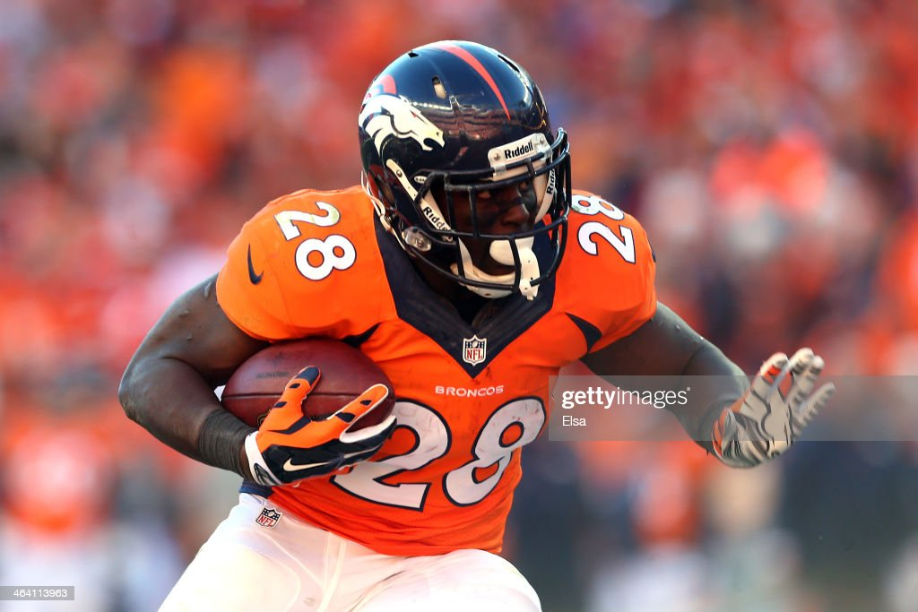 <a gi-track='captionPersonalityLinkClicked' href=/galleries/search?phrase=Montee+Ball&family=editorial&specificpeople=6475135 ng-click='$event.stopPropagation()'>Montee Ball</a> #28 of the Denver Broncos runs with the ball against the New England Patriots during the AFC Championship game at Sports Authority Field at Mile High on January 19, 2014 in Denver, Colorado.