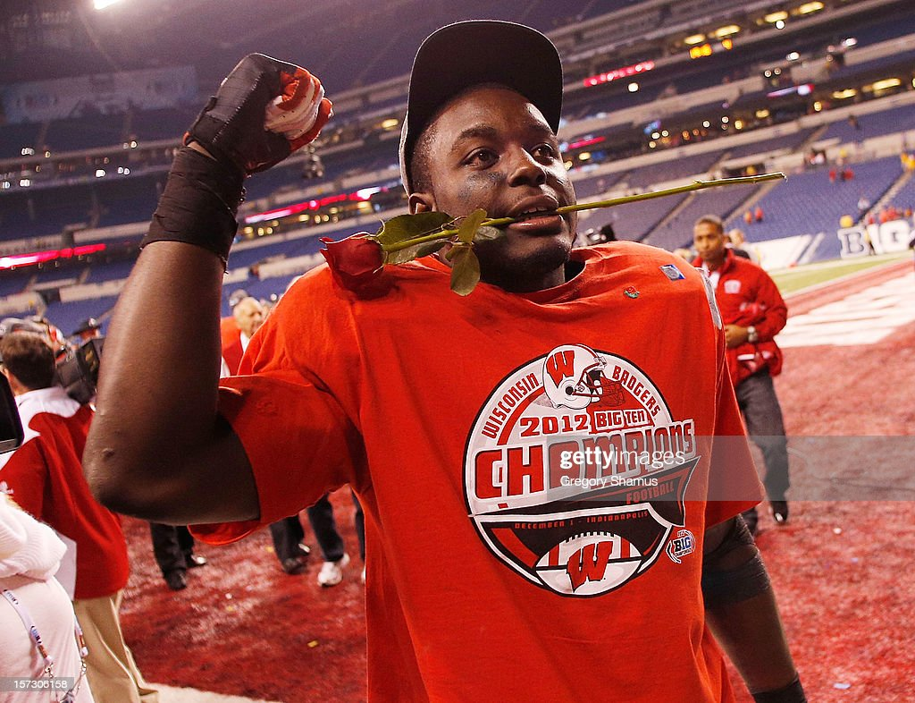 Montee Ball #28 of the Wisconsin Badgers celebrates a 70-31 win over the Nebraska Cornhuskers after the Big 10 Conference Championship Game at Lucas Oil Stadium on December 1, 2012 in Indianapolis, Indiana.