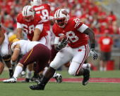 Montee Ball of the Wisconsin Badgers runs against the Arizona State Sun Devils at Camp Randall Stadium on September 18 2010 in Madison Wisconsin...