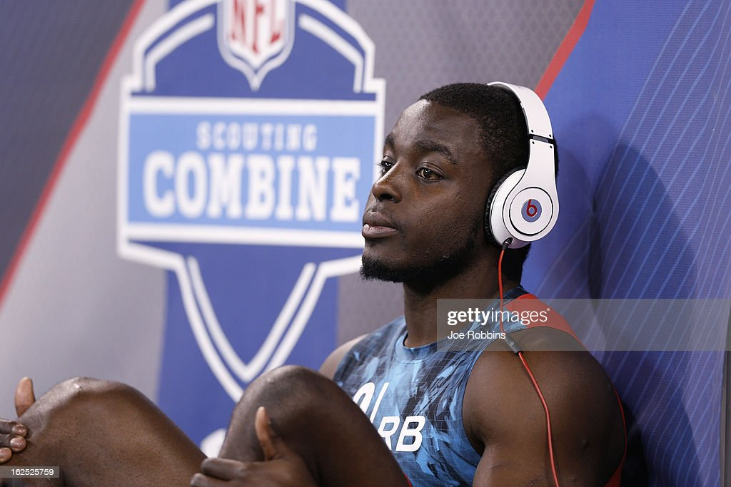 Montee Ball of Wisconsin looks on during the 2013 NFL Combine at Lucas Oil Stadium on February 24, 2013 in Indianapolis, Indiana.