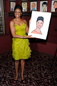 Montego Glover attends the caricature unveiling for Broadway's 'Memphis' stars Montego Glover and Chad Kimball at Sardi's on March 10 2011 in New...