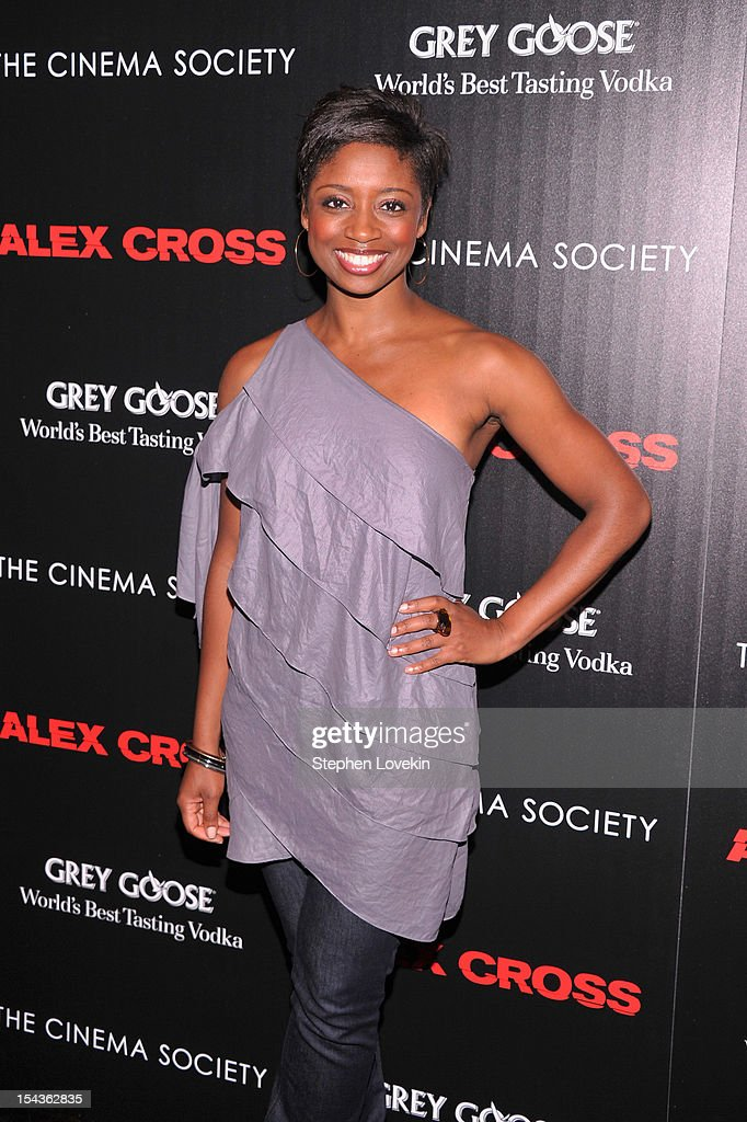 Montego Glover attends The Cinema Society & Grey Goose screening of 'Alex Cross' on October 18, 2012 in New York City.