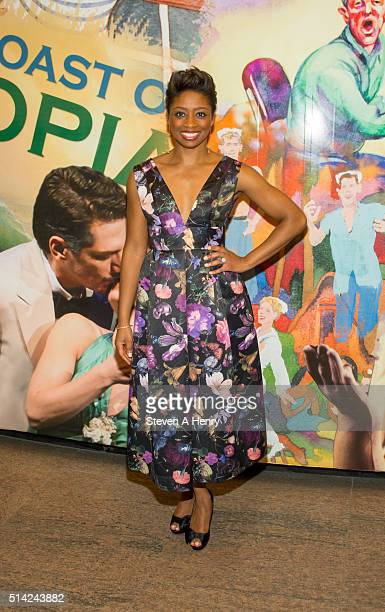 Montego Glover attends 'The Royale' opening night at Mitzi E Newhouse Theater Lobby on March 7 2016 in New York City