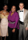 Montego Glover Oprah Winfrey and Adam Pascal pose backstage at the musical 'Memphis' at The Shubert Theater on April 4 2012 in New York City