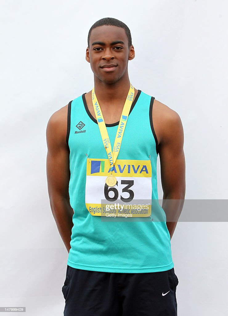 Montel Nevers of Nottinghamshire poses with his medal after placing first in the Inter Boys Triple Jump during day two of the Aviva English Schools Track and Field Championships at the Gateshead International Stadium on July 7, 2012 in Gateshead, England. Search Aviva Athletics on Facebook to Back The Team.