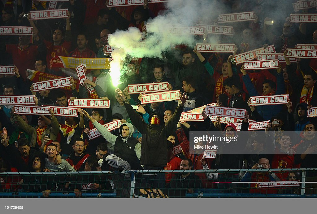 Montenegran fans during the FIFA 2014 World Cup Group H Qualifier between Montenegro and England at City Stadium on March 26, 2013 in Podgorica, Montenegro.