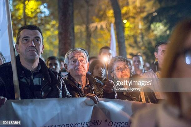 Montenegrins stage a protest in Podgorica Montenegro against membership in NATO only days after Montenegro invited to join the security alliance on...