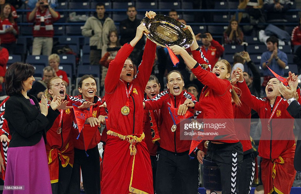 Montenegro handball team celebrate their gold medal win during the Women's European Handball Championship 2012 medal ceremony at Arena Hall on December 16, 2012 in Belgrade, Serbia.