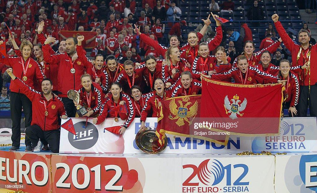 Montenegro handball team celebrate their gold medal win during the Women's European Handball Championship 2012 medal ceremony at Arena Hall on December 16, 2012 in Belgrade, Serbia.