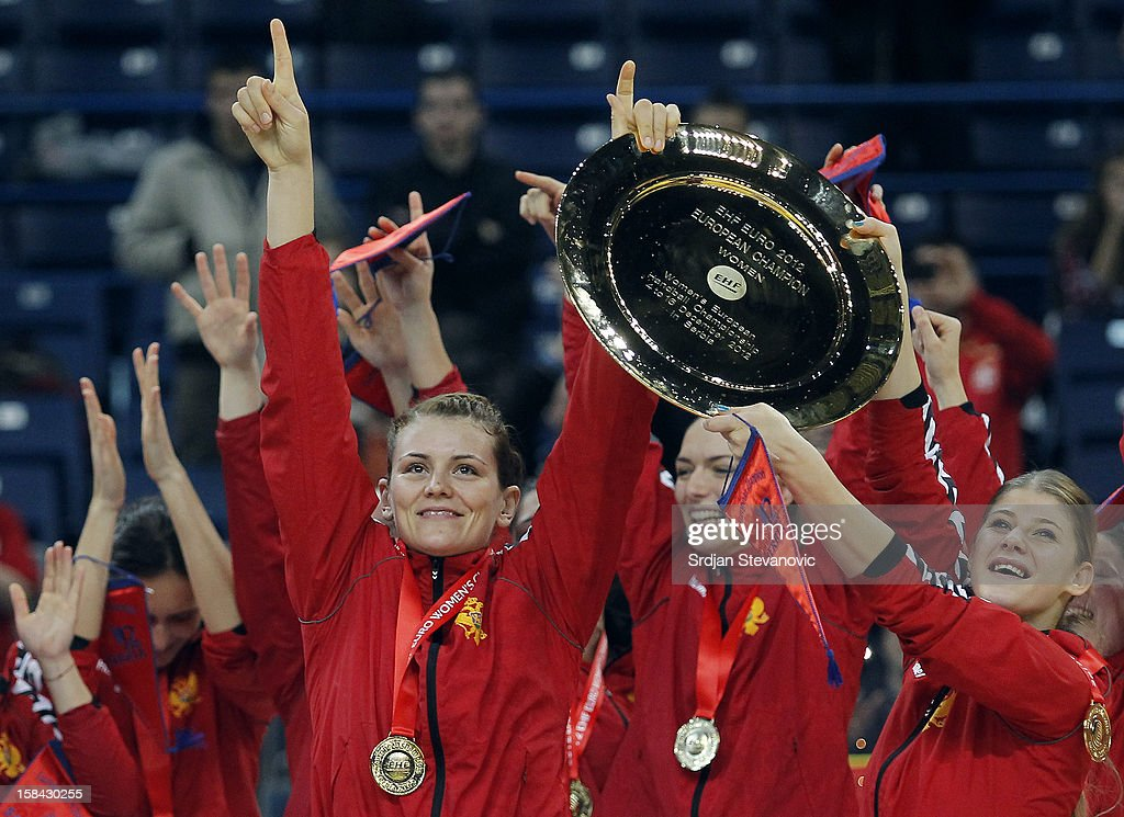 Montenegro handball team celebrate with the trophy during the Women's European Handball Championship 2012 medal ceremony at Arena Hall on December 16, 2012 in Belgrade, Serbia.