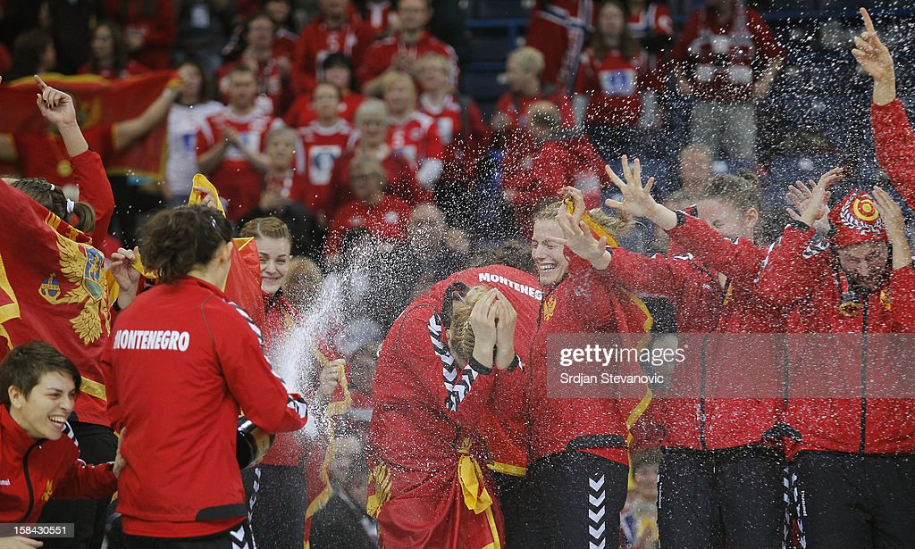 Montenegro handball team players celebrate during the Women's European Handball Championship 2012 medal ceremony at Arena Hall on December 16, 2012 in Belgrade, Serbia.