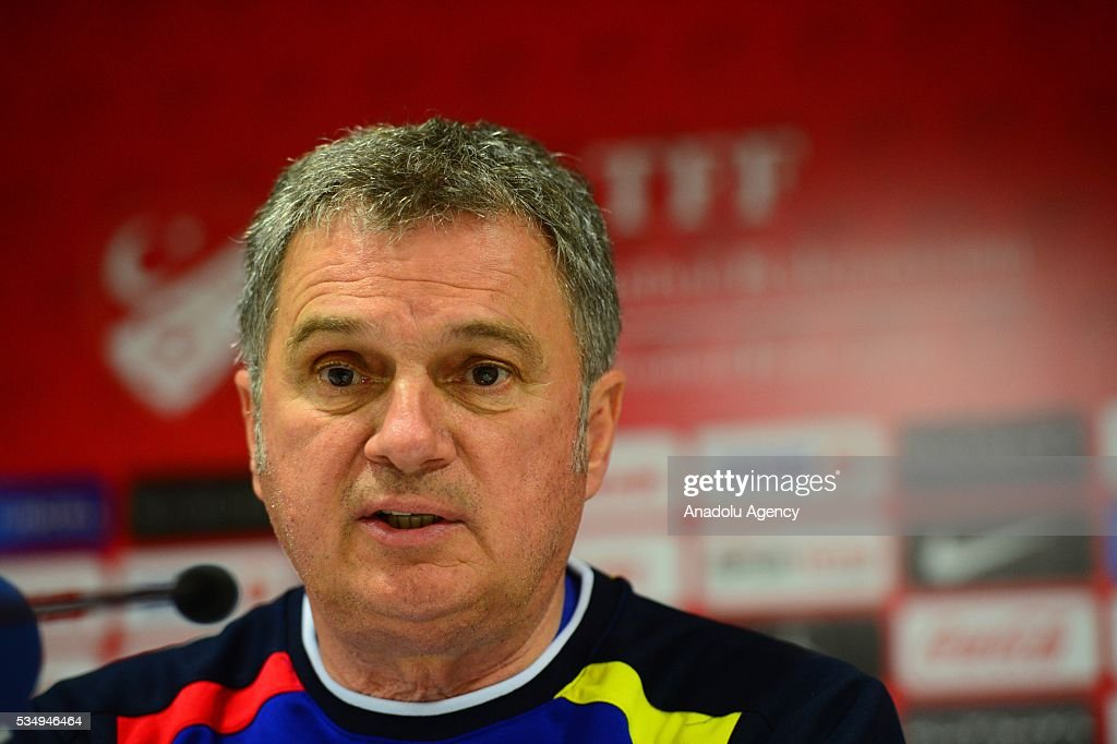 Montenegro national football team's head coach Ljubisa Tumbakovic speaks during a media conference at the Antalya Arena in Antalya, Turkey on May 28, 2016, ahead of a friendly game between Turkey and Montenegro.