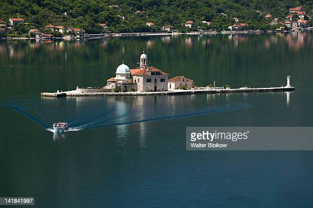 MONTENEGRO-Kotor Bay / Perast: Lady of the Rock Island and Tour Boat on Kotor Bay