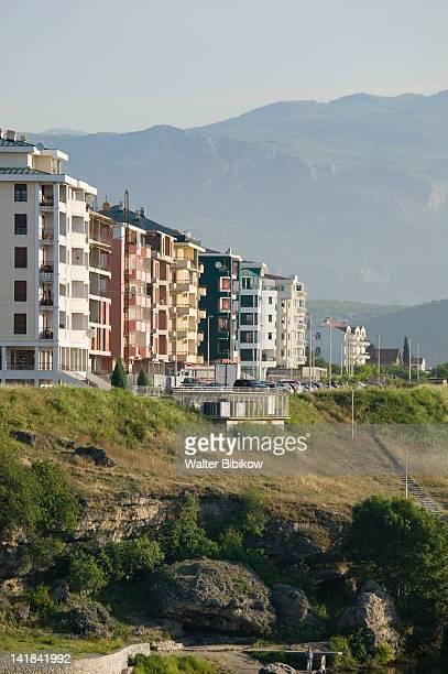 MONTENEGRO-Podgorica: Highrise buildings along the Moraca River / Morning