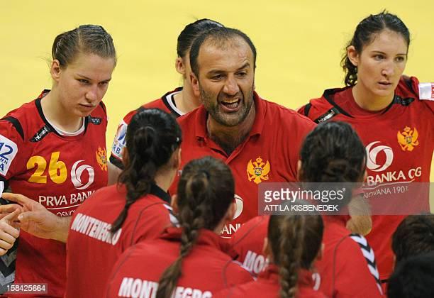 Montenegro's coach Dragan Adzic directs his team during the 2012 EHF European Women's Handball Championship final match against Norway on December 16...