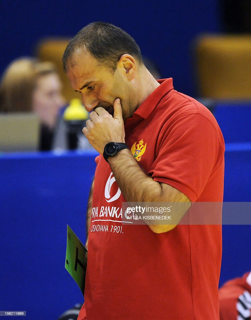 Montenegro's coach Dragan Adzic reacts during the 2012 EHF European Women's Handball Championship Group II match of the main round against Germany on December 11 , 2012, at the local arena of Novi Sad town.