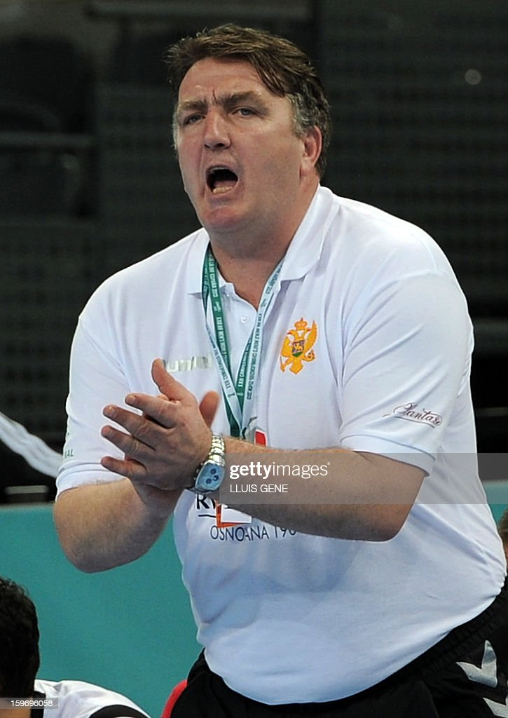 Montenegro's coach Zoran Kastratovic reacts during the 23rd Men's Handball World Championships preliminary round Group A match Montenegro vs Brazil at the Palau Sant Jordi in Barcelona on January 18, 2013.