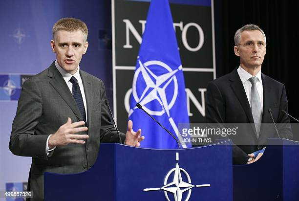 Montenegro's Deputy Prime minister and Minister of Foreign Affairs and European Integration Igor Luksic and NATO Secretary General Jens Stoltenberg...