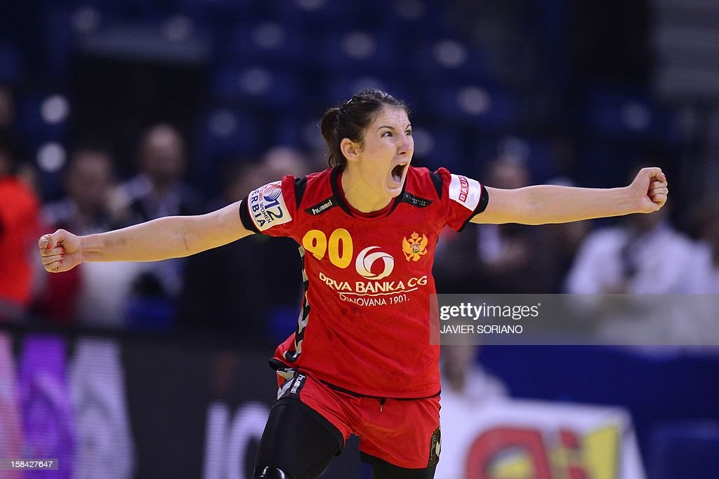 Montenegro's Milena Knezevic celebrates a goal during the 2012 EHF European Women's Handball Championship final match Norway vs Montenegro on December 16 , 2012, at the Kombank Arena of Belgrade.