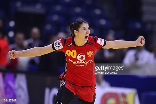 Montenegro's Milena Knezevic celebrates a goal during the 2012 EHF European Women's Handball Championship final match Norway vs Montenegro on...