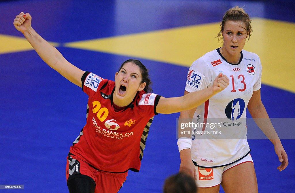 Montenegro's Milena Knezevic (L) celebrates her score against Norway's Marit Malm Frafjord (R) during the 2012 EHF European Women's Handball Championship final match Norway vs Montenegro on December 16 , 2012, at the Kombank Arena of Belgrade.
