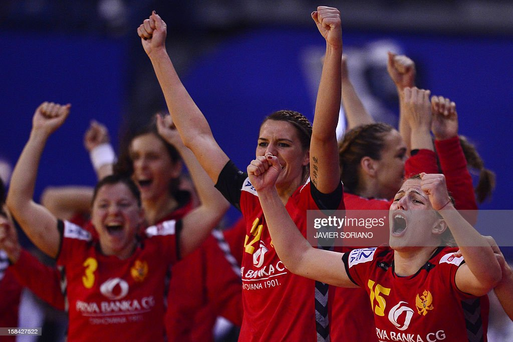 Montenegro's players celebrate their victory at the end of the 2012 EHF European Women's Handball Championship final match Norway vs Montenegro on December 16 , 2012, at the Kombank Arena of Belgrade.