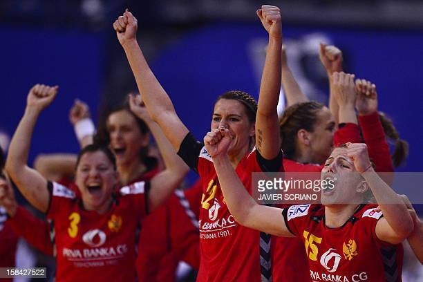 Montenegro's players celebrate their victory at the end of the 2012 EHF European Women's Handball Championship final match Norway vs Montenegro on...