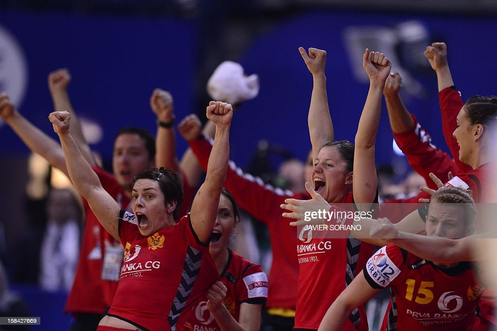 Montenegro's players celebrate their victory at the end of the 2012 EHF European Women's Handball Championship final match Norway vs Montenegro on December 16 , 2012, at the Kombank Arena of Belgrade. AFP PHOTO / JAVIER SORIANO
