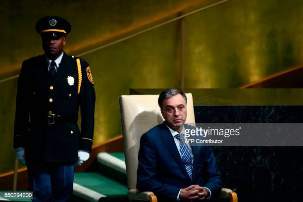 Montenegro's President Filip Vujanovic waits to address the 72nd Session of the UN General assembly at the United Nations in New York on September 20...