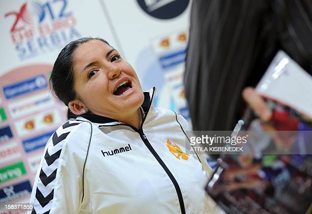Montenegro's rightwing Jovanka Radicevic answers a journalist's questions on the media day of the 2012 EHF European Women's Handball Championship on...