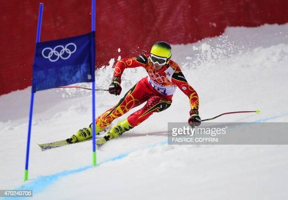 Montenegro's Tarik Hadzic competes during the Men's Alpine Skiing Giant Slalom Run 1 at the Rosa Khutor Alpine Center during the Sochi Winter...