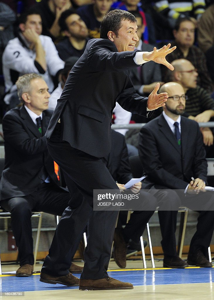 Montepaschi Siena's Italian coach Luca Bianchi gestures during the Euroleague basketball match Regal Barca vs Montepaschi at the Palau Blaugrana sportshall in Barcelona on January 31, 2013.