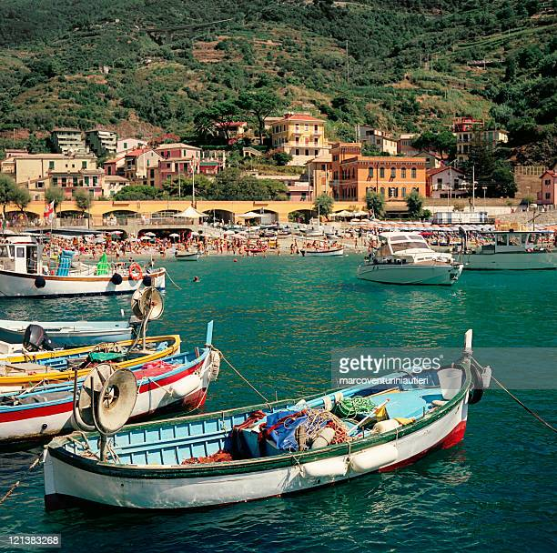 Monterosso - iconic summer landmark with boats and houses