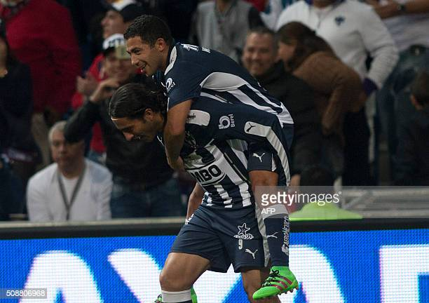 Monterrey Aldo D Nigris and Walter Gargano celebrates after scoring against Dorados during their Mexican Clausura 2016 tournament football at the...
