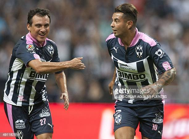 Monterrey's Edwin Cardona celebrates after scoring against Leon during the Mexican Apertura 2015 tournament football match in Monterrey Mexico on...