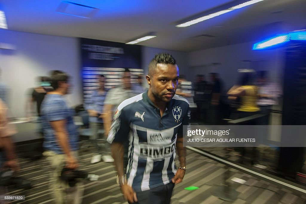 Monterrey's footballer Dorlan Pabon walks to be interviewed in Monterrey, Mexico on May, 24, 2016, two days ahead of the Mexican Clausura 2016 tournament first leg final football match against Pachuca. / AFP / Julio Cesar Aguilar Fuentes