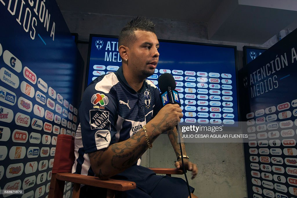 Monterrey's footballer Edwin Cardona speaks in Monterrey, Mexico on May, 24, 2016, two days ahead of the Mexican Clausura 2016 tournament first leg final football match against Pachuca. / AFP / Julio Cesar Aguilar Fuentes